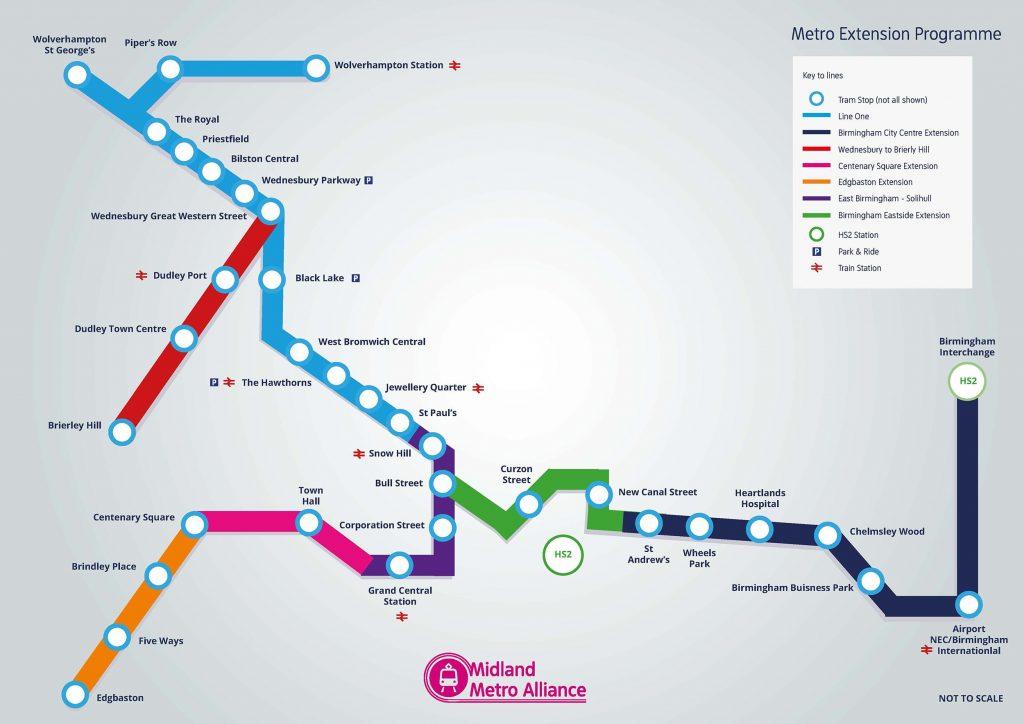 Birmingham metro tram map